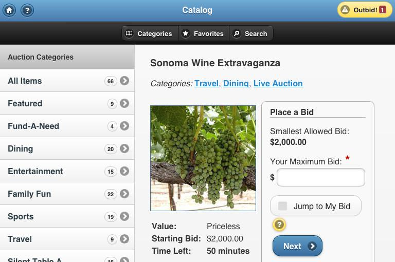 A screen shot of ReadySetAuction's online catalog, showing an auction package for wine tasting in Sonoma.
