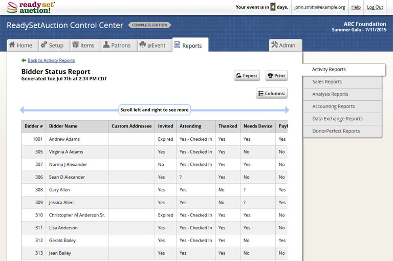A screen shot of ReadySetAuction's Bidder Status Report.